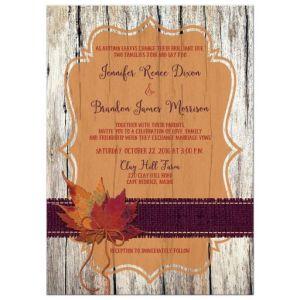Wood, Leaves, Burlap, and Twine Bow Autumn Wedding Invitation