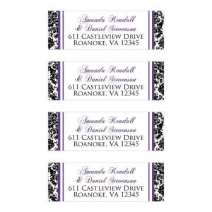 Personalized Address Labels 2 | Purple, Black and White Damask