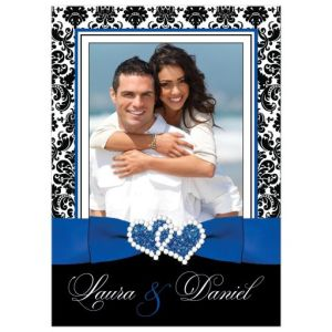 PHOTO Template Wedding Invitation | Royal Blue, White, Black Damask | PRINTED Ribbon, Jeweled Joined Hearts