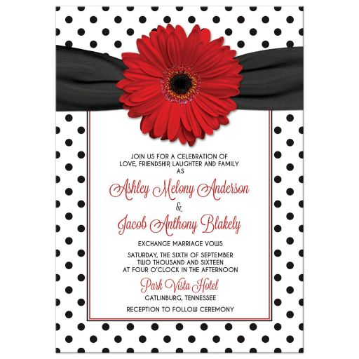 Wedding Invitation Red Gerbera Daisy Black White Polka dots