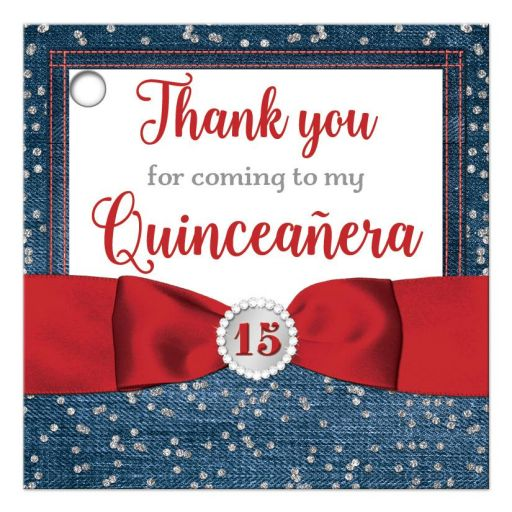 Red ribbon, diamonds and denim La Quinceañera thank you favor tags with bow and jewel