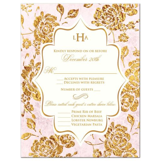 Vintage blush pink, ivory and gold rose floral monogram wedding meal choice rsvp card