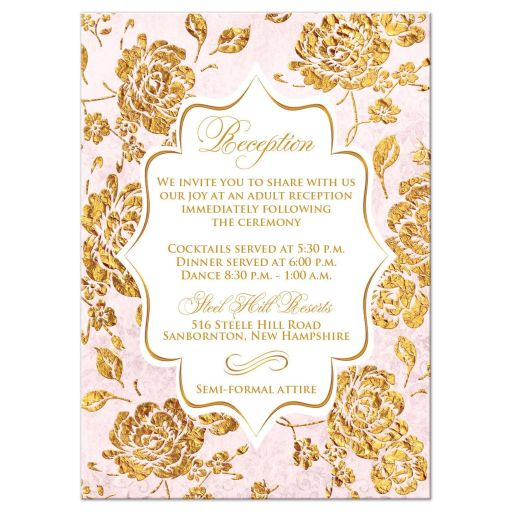 Vintage blush pink, ivory and gold rose floral monogram wedding reception insert card