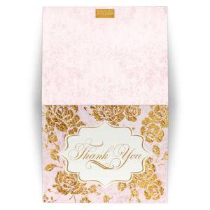 Wedding Thank You Card Vintage Floral Blush Pink, Ivory, Gold Leaf (FAUX) Damask