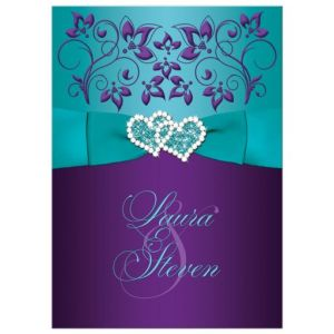 Wedding Invitation Purple, Aqua, White Floral with PRINTED Ribbon & Double Jewelled Hearts