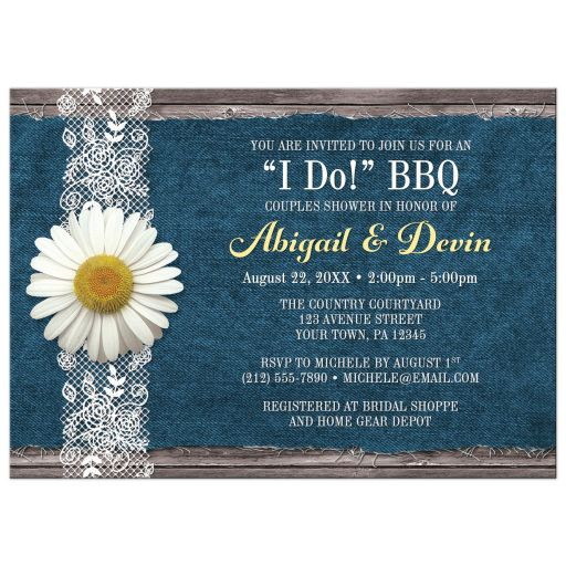 white daisy denim and lace I do BBQ couples country bridal shower invitation