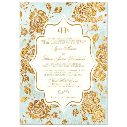 Vintage mint green, ivory and gold rose floral wedding invite