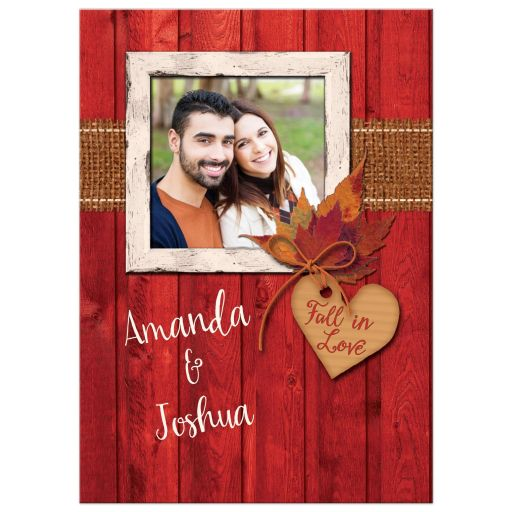 Rustic Autumn Photo Wedding Invitation, Maple Leaves, Faux Burlap, Red Barn Wood, Fall in Love