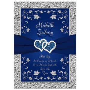 Navy Blue, Silver Joined Hearts Floral Wedding Invitation