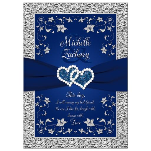 Wedding invitation | Navy blue and silver joined hearts jewel floral