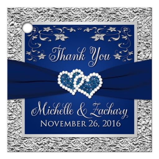 Wedding favor tags | Navy blue and silver joined hearts jewel floral