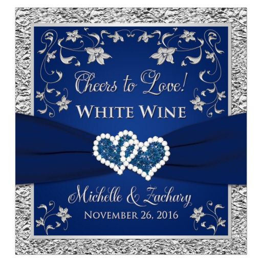 Personalized wedding wine label | Navy blue and silver joined hearts jewel floral
