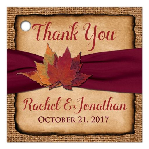 Rustic Fall Wedding Favor Tag | Leaves on Faux Burlap and Wine Ribbon