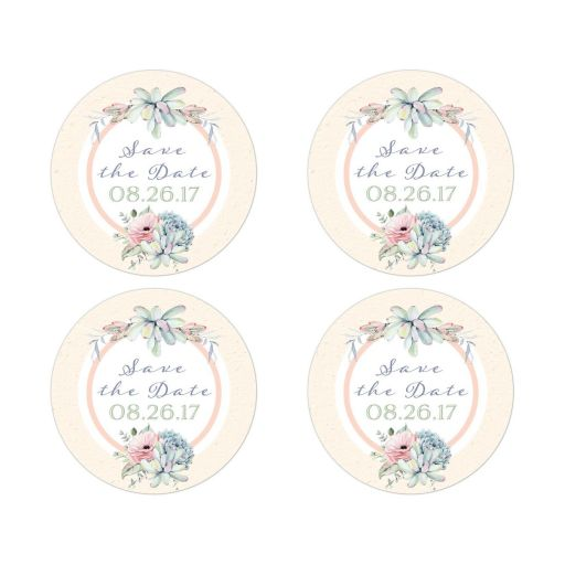 Pastel succulent wedding save the date stickers