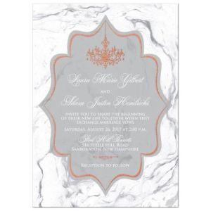 Copper Foil Gray, White Chandelier Wedding Invitation