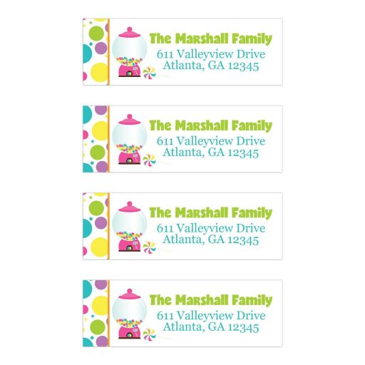 Candyland Candy Themed Bat Mitzvah Address Labels Version 2