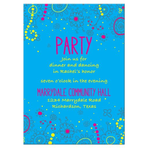 Glow Party Bat Mitzvah Reception Card Neon Glow in the Dark Doodles