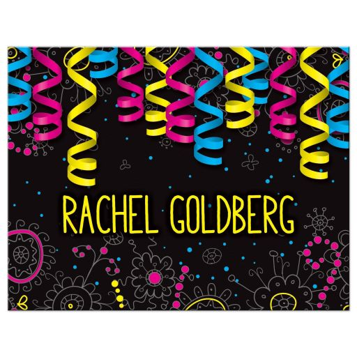 Glow Party Bat Mitzvah Thank You Card Neon Glow in the Dark Ribbons Doodles