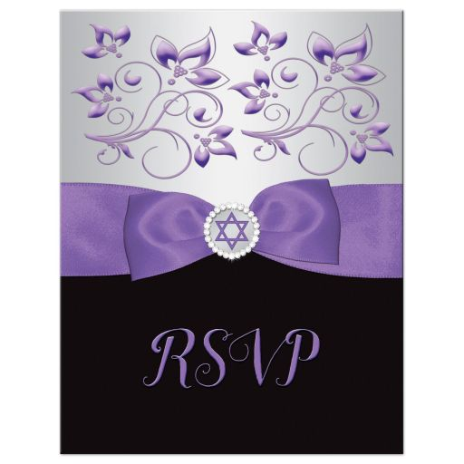 purple, silver, and black ribbon and jewel Bat Mitzvah RSVP Card