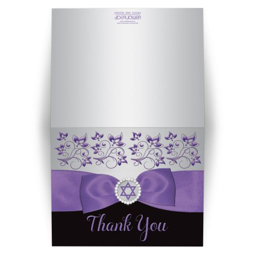 purple, silver, and black ribbon and jewel Bat Mitzvah folded thank you card