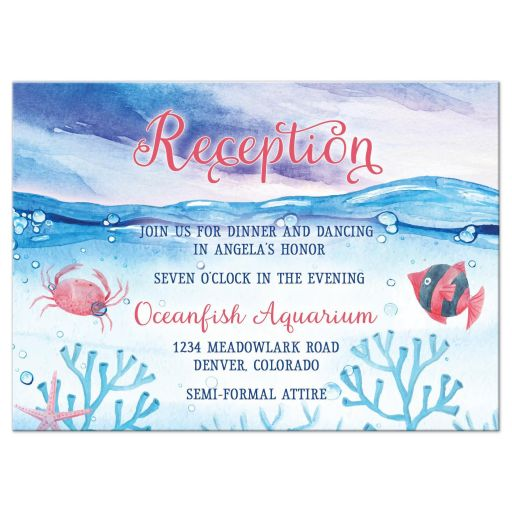Under the Sea Bat Mitzvah reception insert card - Watercolor red blue ocean marine
