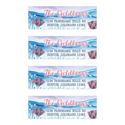 Under the Sea Bat Mitzvah personalized address labels - Watercolor red blue ocean marine