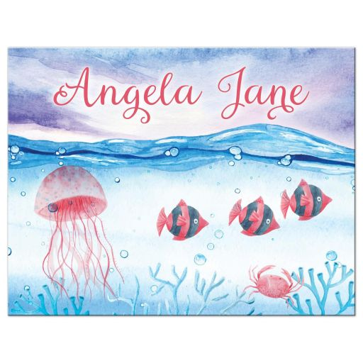 Under the Sea Bat Mitzvah flat thank you card - Watercolor red blue ocean marine