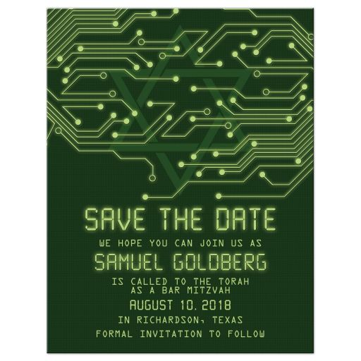 High tech computer circuit board Bar Mitzvah Save the Date Card