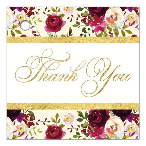 burgundy floral and feathers wedding thank you favor tags