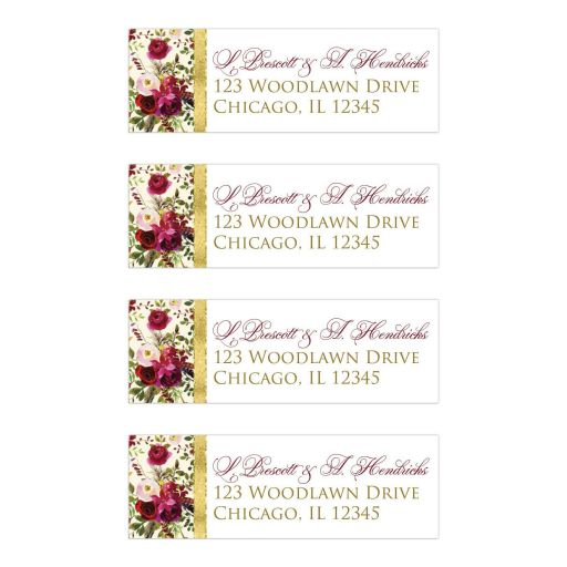 burgundy floral and feathers wedding address labels