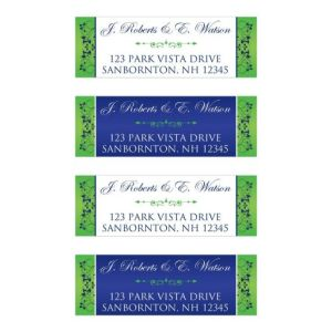 Royal Blue, Lime Green, White Floral Address Labels