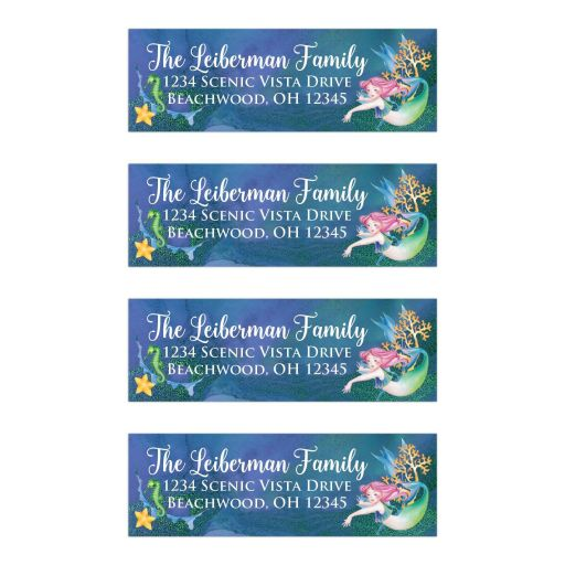 Under the Sea Mermaid Bat Mitzvah Address Labels