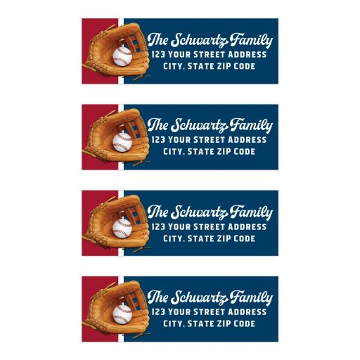 Baseball Softball Bar Mitzvah Address Labels Version 2