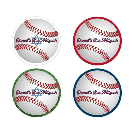 Baseball Softball Bar Mitzvah Favor or Envelope Seal Stickers
