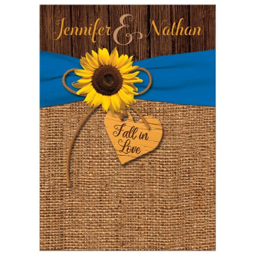 Rustic Sunflower, Faux Burlap, Printed Blue Ribbon Wedding Invite