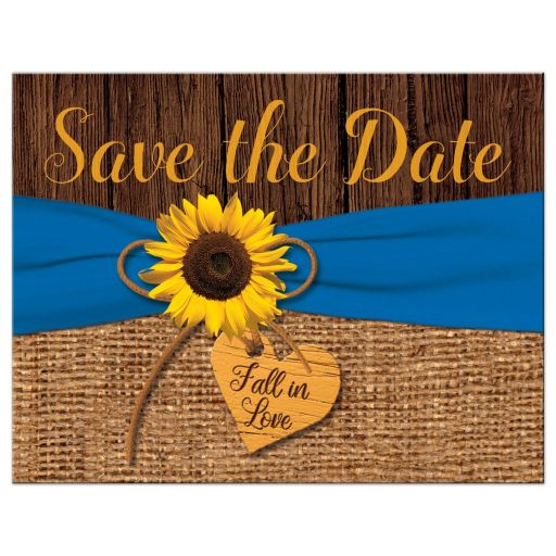 Rustic Sunflower, Faux Burlap, Printed Blue Ribbon Wedding Save the Date