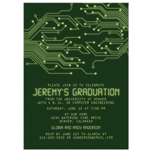 Computer Programming Engineering Circuit Board Graduation Invitation
