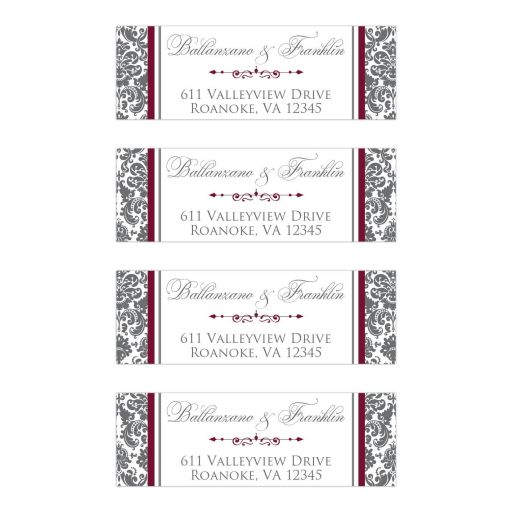 Burgundy Gray White Joined Hearts Jewel Damask Ribbon Wedding Address Labels