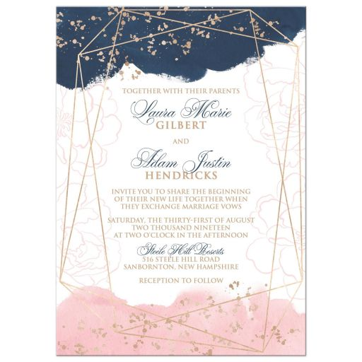Blush Pink Navy White Geometric Watercolor Wedding Invitation