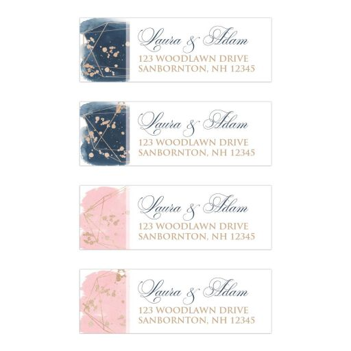 Blush Pink Navy White Geometric Watercolor Wedding Address Labels version 2