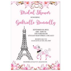 Paris Eiffel Tower Pink Poodle Bridal Shower Invitation