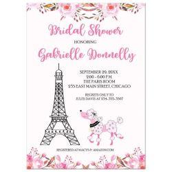 Party simplicity paris themed bridal shower inspiration party paris eiffel tower pink poodle bridal shower invitation solutioingenieria Choice Image