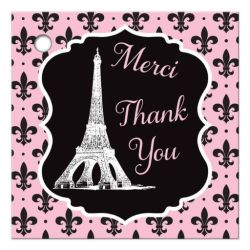 Paris Pink, Black, White Eiffel Tower Bridal Shower Favor Tag