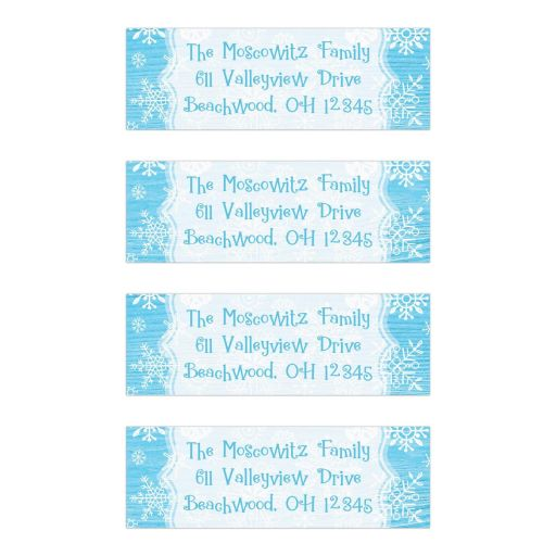Blue white whimsical snowflake winter Bat Mitzvah address labels