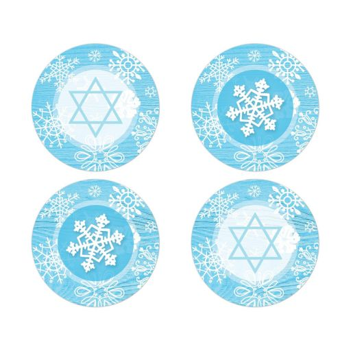 Blue white whimsical snowflake winter Bat Mitzvah envelope seals