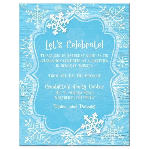Blue white whimsical snowflake winter Bat Mitzvahreception card