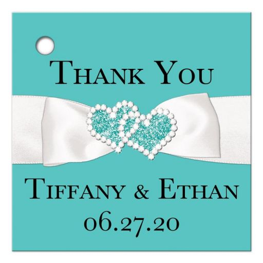 Tiffany blue white ribbon jewels personalized wedding favor tags