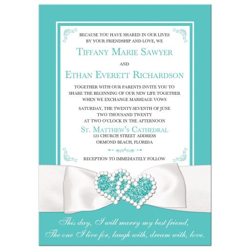 Tiffany blue white ribbon jewels wedding invitation
