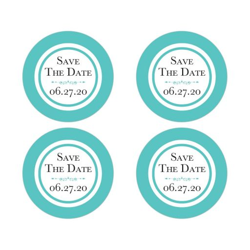 Tiffany blue white wedding save the date envelope seals