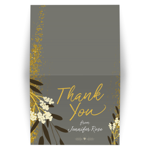 Gold Grey Ivory Wildflower Floral Bat Mitzvah Folded Thank You Card